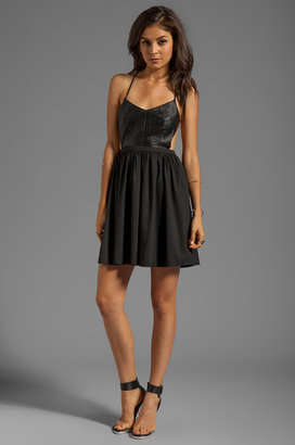 Blaque Label Leather Detail Mini Dress
