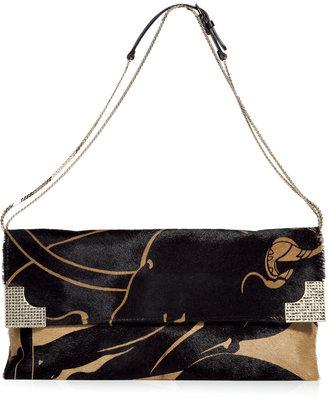 Valentino Black and Camel Calf Hair Clutch