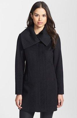 Ivanka Trump Solid & Jacquard Wool Blend Coat