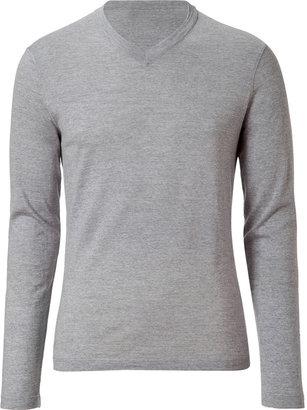 Jil Sander Grey Heather Wool V-Neck Pullover