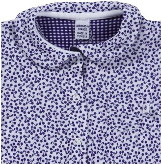 Petit Bateau Footie with Collar - White/Blue-NB