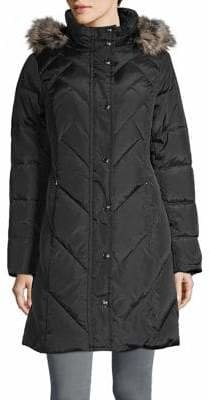 London Fog Faux Fur Quilted Down Parka
