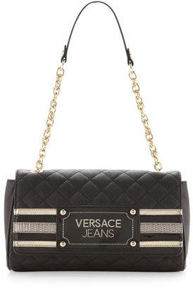 Versace Chain-Strap Striped Satchel Bag, Nero