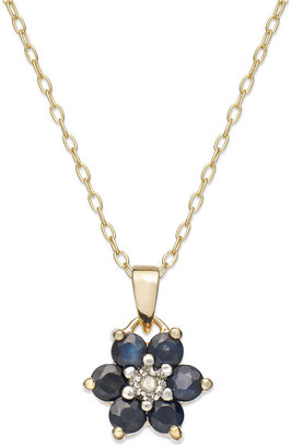 Townsend Victoria 18k Gold over Sterling Silver Necklace, Midnight Sapphire (9/10 ct. t.w.) and Diamond Accent Flower Pendant