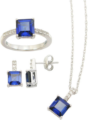 JCPenney FINE JEWELRY Lab-Created Blue & White Sapphire 3-pc. Square Jewelry Set