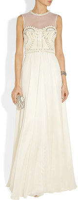 Temperley London Laurel embellished tulle, satin and chiffon gown