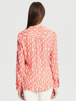 Banana Republic Abstract Print Roll-Sleeve Blouse