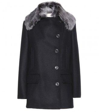 Vanessa Bruno Wool coat with fur-trimmed collar