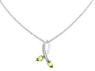 "0.90 ct tw Sterling & 14K Peridot Diamond Pendant w/18"" Chain"