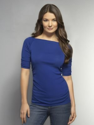 New York & Co. Boat-Neck Shirred Tee