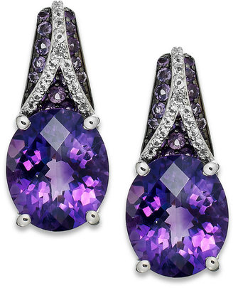 Sterling Silver Earrings, Amethyst (3-9/10 ct. t.w.) and White Topaz (1/4 ct. t.w.) Oval Pave Earrings