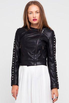 Motel Rocks Foxy Faux Leather Studded Jacket