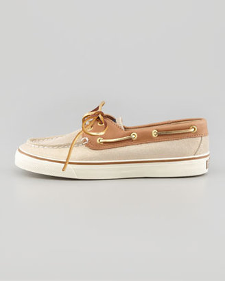 Sperry Bahama Sparkly Suede Boat Shoe, Natural/Cognac