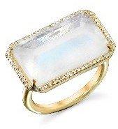 Irene Neuwirth Inverted Emerald Cut Rainbow Moonstone Ring with Diamonds - Yellow Gold