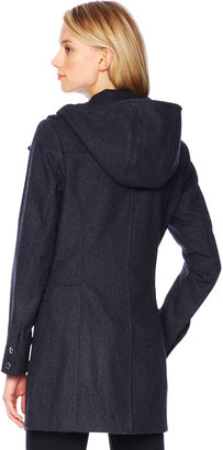 Michael Kors Faux-Leather-Trim Wool Coat