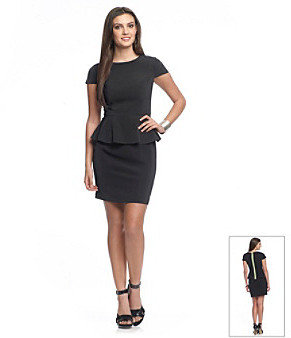 Kensie Cap Sleeve Peplum Dress