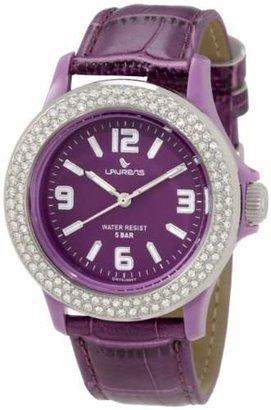 Laurens Women's GW70J904Y Swarovski Crystal Bezel Purple Dial Leather Watch $118.99 thestylecure.com