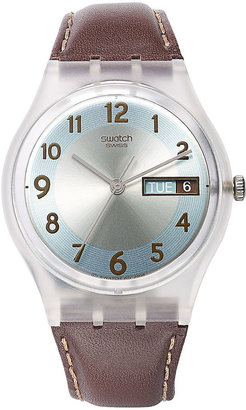 Swatch Watch, Unisex Swiss Blue Conker Brown Leather Strap 34mm GE704