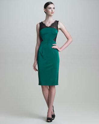Monique Lhuillier Lace/Jersey Cocktail Dress