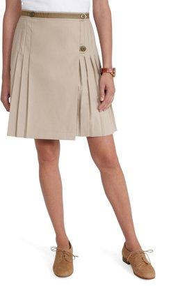 Brooks Brothers Cotton Poplin Pleated Skirt