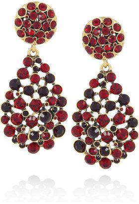 Oscar de la Renta 24-karat gold-plated crystal clip earrings