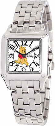 DISNEY PRINCESS Disney Perfect Square Winnie the Pooh Womens Silver-Tone Watch