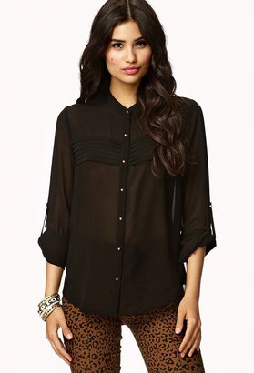 Forever 21 Classic Pintuck Pleated Button Up