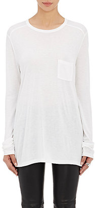 Alexander Wang Women's Single-Pocket Long-Sleeve T-Shirt-WHITE