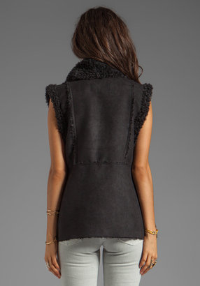 Obey Mojave Faux Suede Shearling Vest in Black/ Black