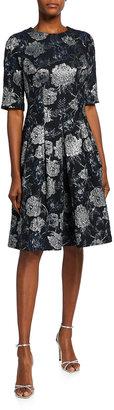 Rickie Freeman For Teri Jon Elbow-Sleeve Floral Brocade Cocktail Dress