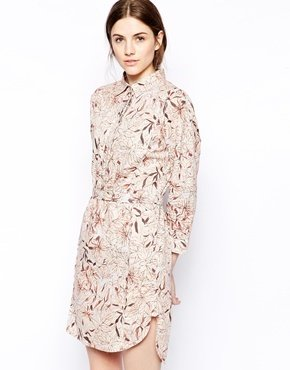 See by Chloe Floral Shirt Dress with 3/4 Sleeves - Multi