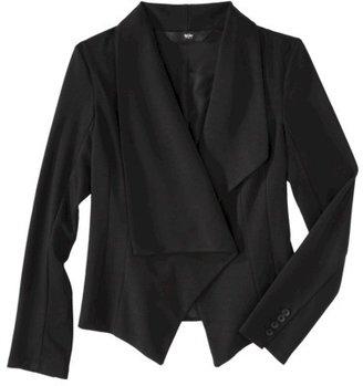 Mossimo Women's Asymmetrical Drape Ponte Blazer - Ebony