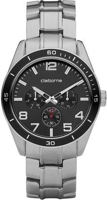 Claiborne Mens Silver-Tone Black Dial Watch