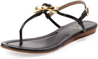 Kate Spade Tracie Patent Bow Thong Sandal, Black