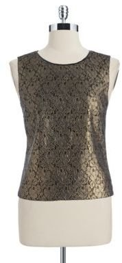 T Tahari Sleeveless Blouse with Metallic Floral Lace