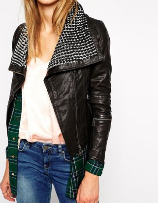 Doma Irregular Leather Jacket with Knitted Collar
