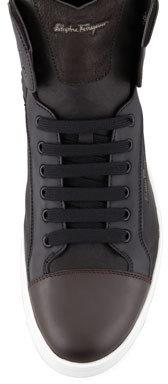 Salvatore Ferragamo Sisto Mixed-Media High-Top Sneaker, Black/Chocolate