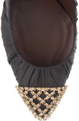 Bruno Magli Girifushi topaz-embellished taffeta and leather pumps