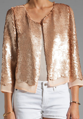 Lauren Conrad Paper Crown by Chester Sequin Jacket in Champagne/Nude