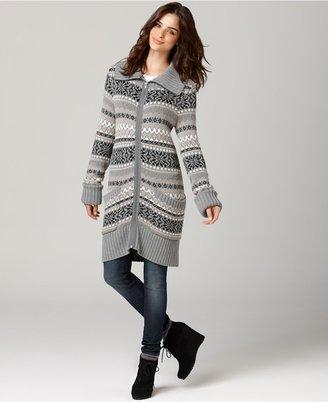 DKNY Sweater, Long Sleeve Fair Isle Zip Up