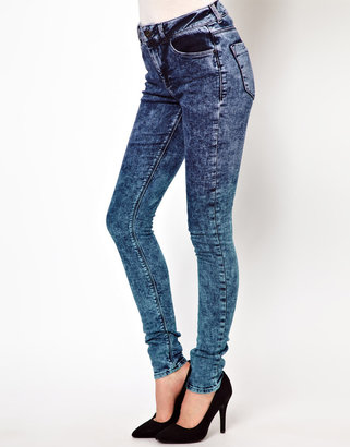 Asos Ridley Supersoft High Waisted Ultra Skinny Jeans in Ombre Colored Acid Wash