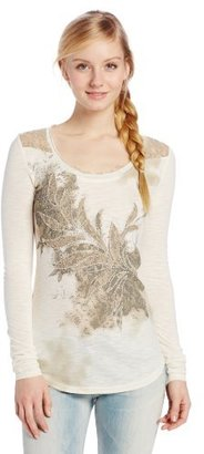 Miss Me Embellished Scoop Neck Tee with Lace Collar