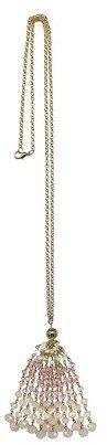Tanya Creations, Inc. Women's Long Beaded Tassel Pendant on Chain - Gold/Pale Pink