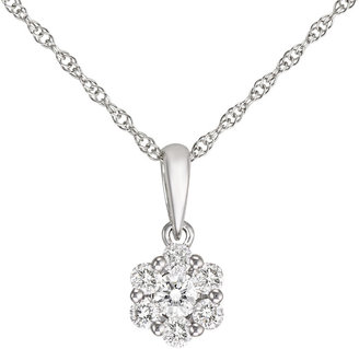 Ice.com Diamond Cluster Pendant 1/7 ct. tw. In 14K White Gold w/Chain