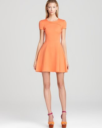 Halston Short Sleeve Dress with Cross Neck Detail
