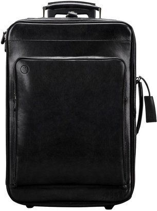 Maxwell Scott Bags Maxwell Scott Premium Leather Hand Luggage On Wheels - Piazzale Black