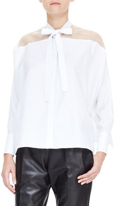 Valentino Sheer-Yoke Self-Tie Side-Slit Blouse, White