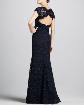 Monique Lhuillier ML Open-Back Lace Gown