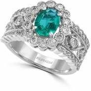 Effy 14K White Gold Emerald Ring with 0.85 TCW Diamonds