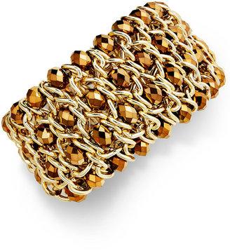 INC International Concepts Bracelet, Gold-Tone Bronze Glass Beaded Stretch Bracelet $34.50 thestylecure.com